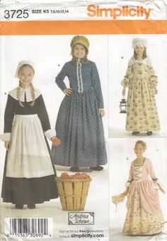 Simplicity 3725 Colonial Gown Mobcap Prairie Dress by CedarSewing