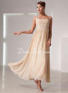 A-Linie/Princess-Linie Trägerlos Knöchellang Chiffon Festliche Kleid mit Rüschen mit Perlen verziert (020014439) - DressFirst de