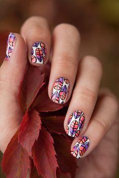 Pretty fall nail art by Anna Gorelova