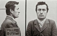 Mugshot of Benito Mussolini from when he was arrested by Swiss police for supporting a violent general strike Later to become ruler over Italy and sides with Hitler in WWII. Italy History, World History, History Pics, European History, Old Photos, Vintage Photos, Iconic Photos, Indira Ghandi, Bern
