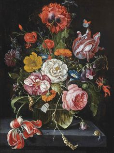 Circle of Jan Davidsz. de Heem (Utrecht 1606-1684 Antwerp) A rose, parrot tulips, morning glory, foxglove and other flowers in a glass vase on a stone ledge, with a snail and a butterfly.