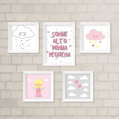 Dê mais vida ao quarto do seu filhote com o nosso kit de quadros decorativos. São 5 quadros decorativos É 1 quadro com 33,5 x 24 cm e 4 quadros com 23,5 x 23,5 cm. Todos possuem frente de vidro. Gravuras impressas com qualidade fotográfica.