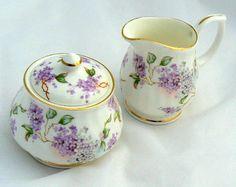 Lilac Lace Bone China Sugar Bowl and Cream Jug