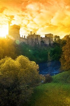 Autumn sunset over Lismore castle in county Waterford Ireland...