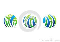 Circle plant logo and natural water drop,water leaf and global ecology nature set symbol icon design vector