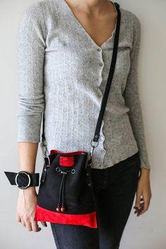 Two sided Bag Bucket Bag Red Handbag Leather Cross Body Bag   Etsy