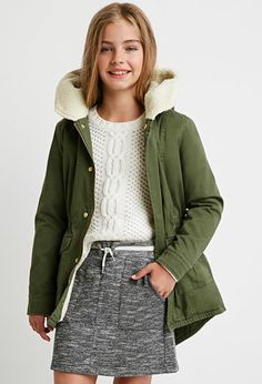 Faux Shearling Utility Jacket (Kids) | Forever 21 girls - 2000142974