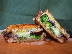 roasted broccoli, mushroom & shallot panini w/ cheddar | two foodies & a pup
