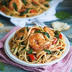 Shrimp Spinach Pasta- An Easy 30 minute weeknight summer spaghetti dinner that delivers a huge punch of flavor with no cream.