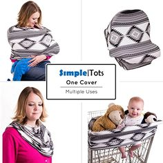 Shopping Cart Stroller or Carseat Cover Black Stripe Bonus Matching Carry Pouch Multi Use Breastfeeding Cover Up Premium Baby Car Seat Canopy 360 Privacy Shawl for Nursing