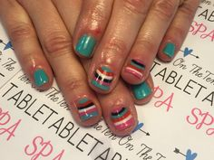 Stripe accent. Nail art.