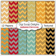Autumn Chevron Digital Papers for Digital by DigiScrapDelights,  #digital #printable $Scrapbook
