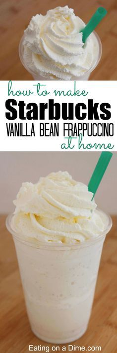How to make starbucks vanilla bean frappuccino at home that tastes amazing. This… How to make starbucks vanilla bean frappuccino at home that tastes amazing. This easy copy cat recipe is easy to make at home. Smoothie Drinks, Smoothie Recipes, Vanilla Bean Frappuccino Recipe, Frappe Recipe, How To Make Frappuccino, Vanilla Smoothie, Vanilla Milkshake, Yummy Drinks, Starbucks Recipes