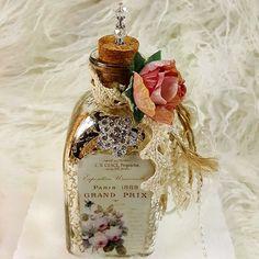 French Vintage Perfume Label Mercury Glass Decorative Bottle~Shabby Chic Roses  #Handmade