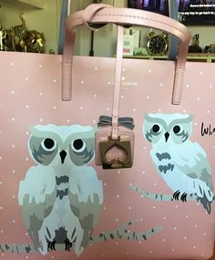 This incredible tote by Kate Spade is really really nice. A pink colored front with two Snow Owls perched on two ccza Kate Spade Totes, Kate Spade Tote Bag, Really Cool Stuff, Suitcase, The Incredibles, Pink, Color, Tote Bags, Snow