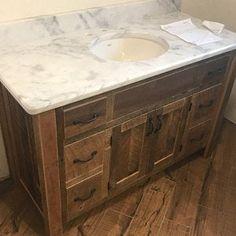 Rustic Industrial Vanity - Reclaimed Barn Wood Vanity w/Sliding Doors Rustic Vanity, Rustic Bathroom Vanities, Wood Vanity, Rustic Bathrooms, Bathroom Ideas, Barn Wood Cabinets, Mudroom Cabinets, Bathroom Cabinets, Reclaimed Barn Wood
