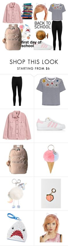 back to school firs day outfit by lvoices on Polyvore featuring Miu Miu, Boohoo, adidas, Kipling, VeraMeat, Hot Topic, Celebrate Shop, WithChic and 7 For All Mankind