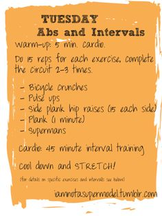 Looking for the rest of the week's exercises? You can find them right here !TUESDAY: ABS AND INTERVAL TRAINING For details on this workout, keep reading: Warm up: Any form of cardio that gets your. Get Healthy, Healthy Life, Healthy Living, Fitness Tips, Fitness Motivation, Tuesday Workout, Health And Wellness, Health Fitness, Interval Training