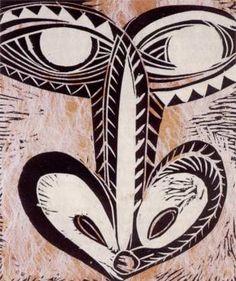 FATU FEU'U Orongo 1992 Woodblock on barkcloth, laid on paper, 596 x 490 mm. (Collection of Auckland Art Gallery Toi o Tamaki) Auckland Art Gallery, Polynesian Art, Nz Art, Madhubani Art, Maori Art, Block Prints, Moana, Visual Arts, Doodle Art