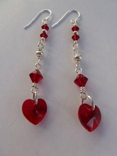 Red Heart Earrings  Long by Infinitijewellery on Etsy, £14.00