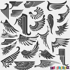 INSTANT DOWNLOAD Abstract Angel Wing Symbol Decor by SasiyaDesigns, $5.00