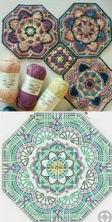 Transcendent Crochet a Solid Granny Square Ideas. Wonderful Crochet a Solid Granny Square Ideas That You Would Love. Motif Mandala Crochet, Crochet Motifs, Granny Square Crochet Pattern, Crochet Diagram, Crochet Chart, Crochet Squares, Love Crochet, Crochet Granny, Crochet Blanket Patterns