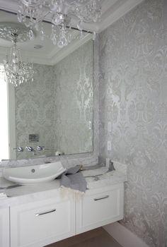 The Cross Decor & Design - bathrooms - powder room, powder room wallpaper, metallic damask wallpaper, silver damask wallpaper, silver metall...
