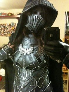 female Nightingale cosplay (Skyrim) would be perfect if it wasn't a shameless mirror self shot