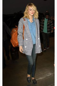 This actress's classic chambray shirt, oversized jacket, and loafers have an easy, borrowed-from-the-boys charm. So follow her lead and raid your man's closet before you head out of town.   - ELLE.com