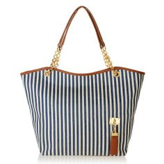 Vertical Stripe Big Totes Tassel Bag Shoulder Bag Canvas Women Handbag