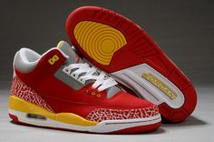 Men Air Jordan Retro 3 AJ3 Shoe Yellow Red|only US$85.50 - follow me to pick up couopons.