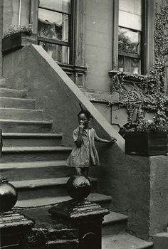 "Louis Draper, ""Untitled (Girl on steps, building with ivy)"" (c. 1965), vintage gelatin silver print, printed c. 1965 14 x 11 inches"