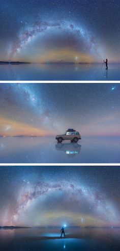 The Milky Way Reflected Onto the Largest Salt Flat in the World Salar de Uyuni Salt Flat, Bolivia Landscape Photography, Nature Photography, Milky Way Photography, Travel Photography, Night Photography, Landscape Photos, Photography Photos, Cool Photos, Beautiful Pictures