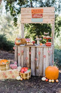 The dessert stand at this rustic Fall Thanksgiving party is amazing!! See more party ideas  and share yours at CatchMyParty.com #desserttable #thanksgiving