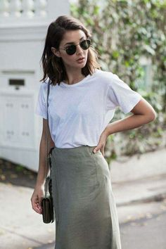 silk midi skirt + white tee by harper+harley