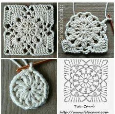 Diy Crafts - -Sunset Flower Square Motif Crochet Beautiful romantic squares to create new, brilliant projects. Crochet Collar Pattern, Crochet Motif Patterns, Granny Square Crochet Pattern, Crochet Diagram, Crochet Chart, Crochet Squares, Love Crochet, Filet Crochet, Diy Crochet