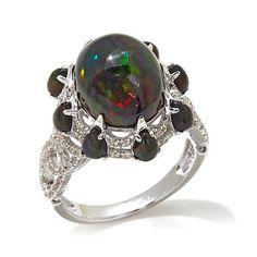 Rarities Black Ethiopian Opal and White Zircon Ring