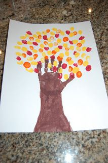 Fun Thanksgiving Art Projects, Hand and fingerprints fall tree