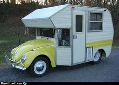 Volkswagen Beetle Camper Van, now that is camping Vintage Campers, Camping Vintage, Vw Vintage, Vintage Travel Trailers, Retro Campers, Vintage Motorhome, Classic Campers, Vintage Mustang, Kombi Trailer
