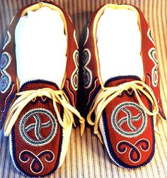 Cherokee Beadwork Patterns | Sun Circle Moccasins - commissioned by a private collector.