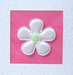 Wedding Day Card  white satin flower with coloured by CardArtSmart