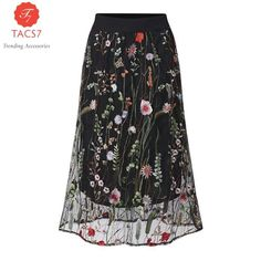 Black Floral Embroidered Mesh Overlay Midi A Line Skirt