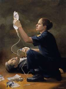 This painting is one of a female paramedic who does exist.  Although I do not have her name,  I do know that the artist is Richard S. Halstead from Evanston, Illinois who has done as series of paintings of paramedics, firemen and police officers.