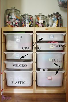 I love this idea for a craft room! Super organized! via Being Brook!