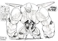 "animeslovenija: ""Friend scanned this cool Big Hero 6 leaflet drawn by Kill la Kill's director Hiroyuki Imaishi for Comiket 87. """