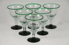 Authentic Mexican Green Rim Wine/Sorbet Glasses Set of 6