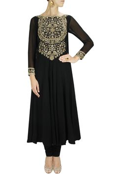 Black hand embroidered anarkali set. By MALASA. Shop designer now at www.perniaspopups... #designer #indian #stylish #shopnow #perniaspopupshop #happyshopping