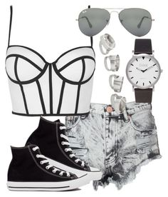 """""""Untitled #3233"""" by deedee-pekarik ❤ liked on Polyvore featuring Glamorous, Topshop, Converse, Ray-Ban, croptop, blackandwhite and silverjewelry"""