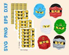 Clipart Ninja Ninja Ninja masque Vector clipart numérique fichiers les yeux Lego Ninjago, Ninjago Party, Superhero Party, Ninja Birthday Parties, Birthday Party Themes, Party Co, Animal Party, Clipart, Etsy