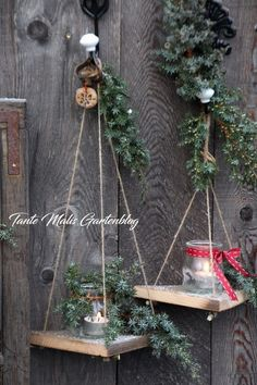 Minischaukeln für den Garten DIY (Tante Malis Gart - Do It YourSelf Diy Garden Decor, Garden Art, Garden Design, Diy Home Decor, Decoration Palette, Tree Branch Decor, Garden Images, Magical Christmas, Garden Projects